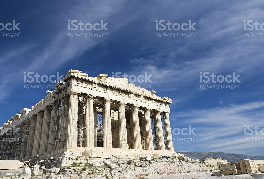 Ancient Parthenon in Acropolis Athens Greece on blue sky background stock photo