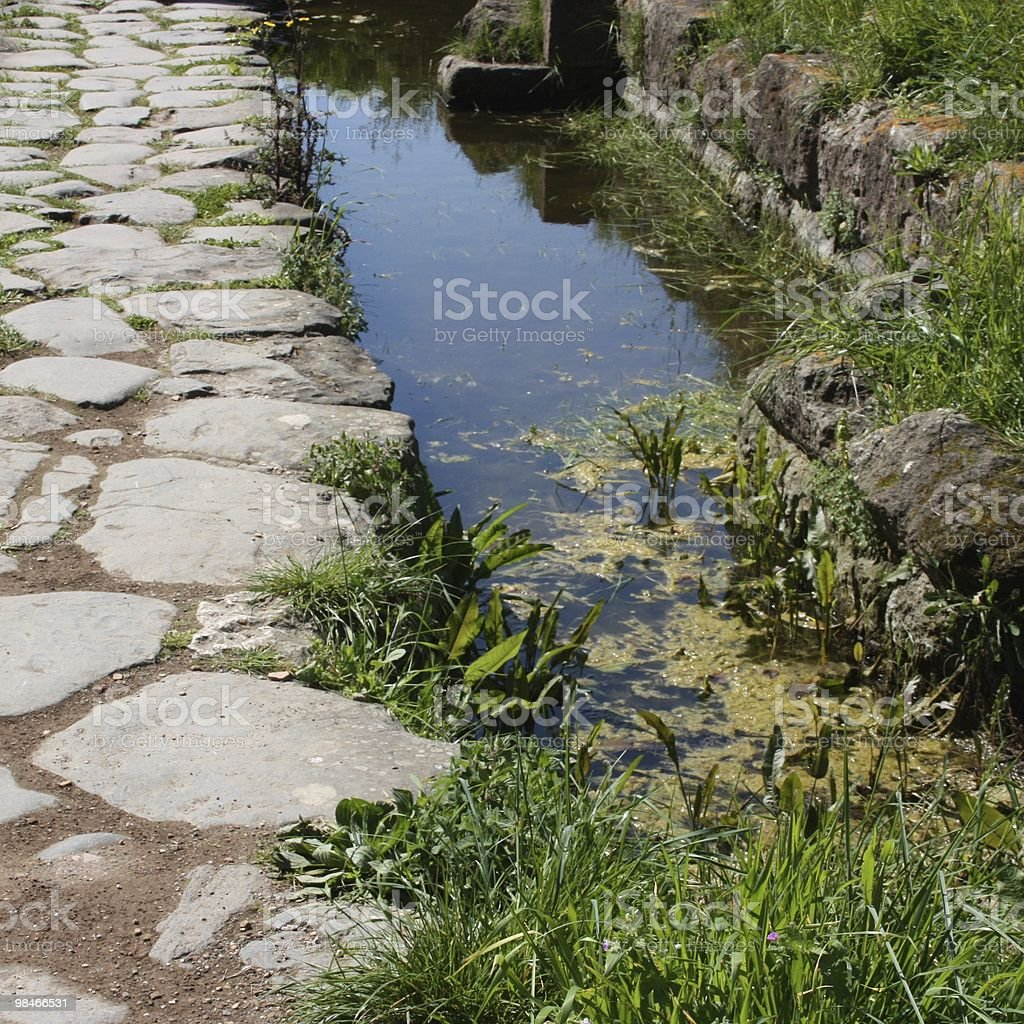 Ancient pathway in square royalty-free stock photo
