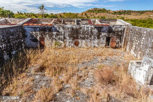 Nosy Lava, Madagascar, June 27, 2017: The courtyard of the ancient penal colony of Nosy Lava island, from 1911 to 2000, in North-West of Madagascar