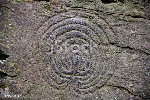 An ancient labyrinth, or tree of life, petroglyph in Cornwall