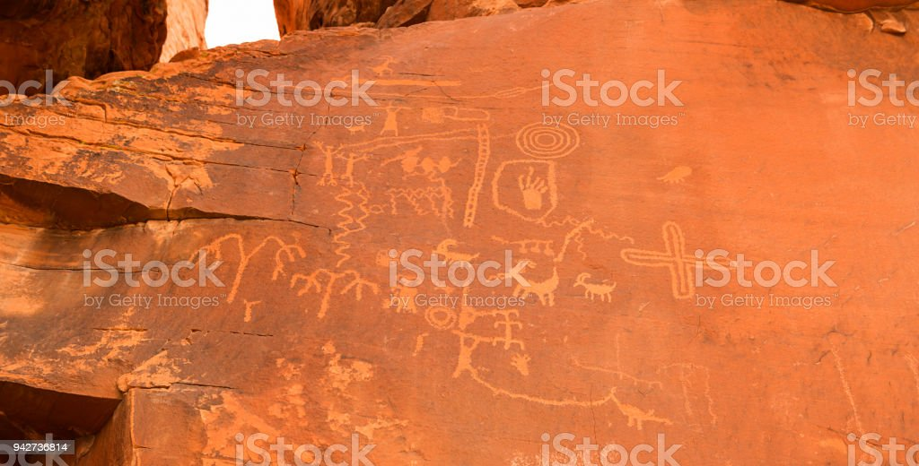 Ancient petroglyphs in Nevada stock photo
