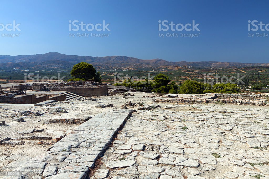 Ancient Phaestos at Crete island in Greece stock photo