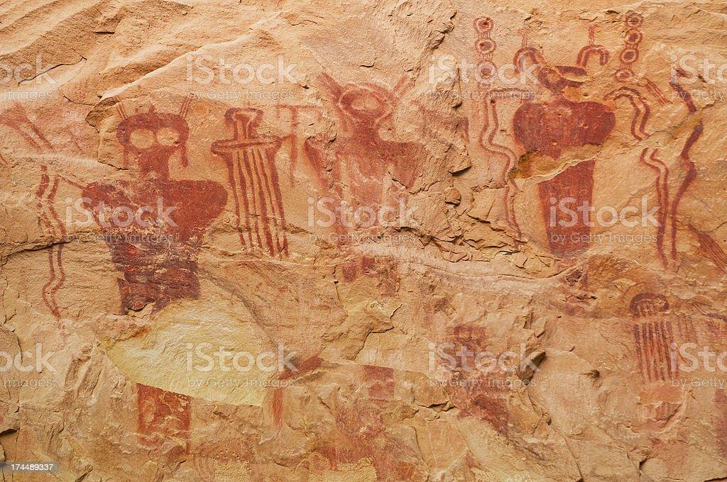 Ancient pictographs, Sego Canyon, Utah, USA royalty-free stock photo