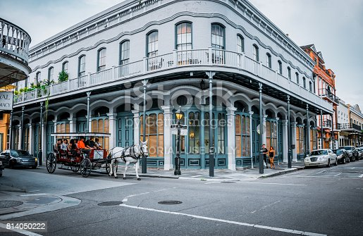 istock Ancient picturesque area of New Orleans. Horseback riding in the city 814050222