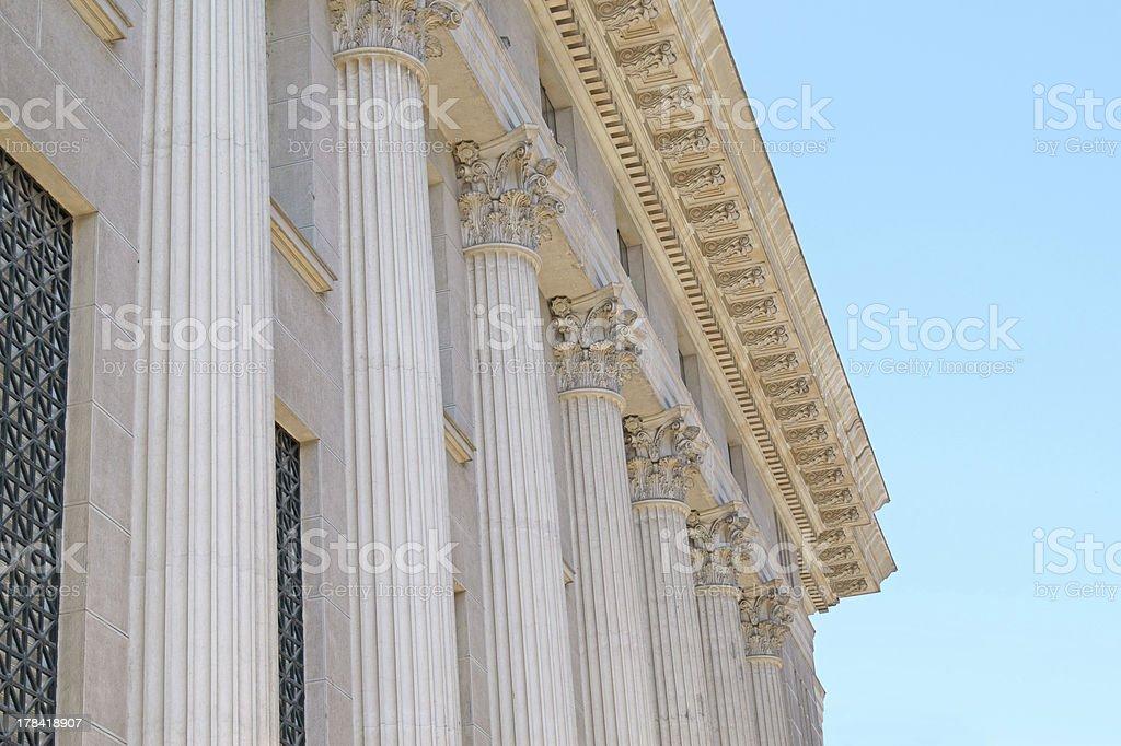 Ancient pillar on old National Greek Bank, Thessaloniki ci royalty-free stock photo