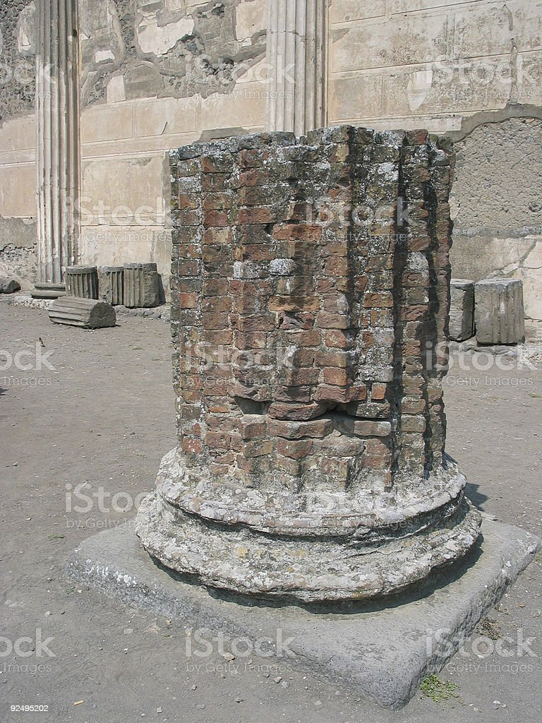 Ancient pillar, Pompei royalty-free stock photo