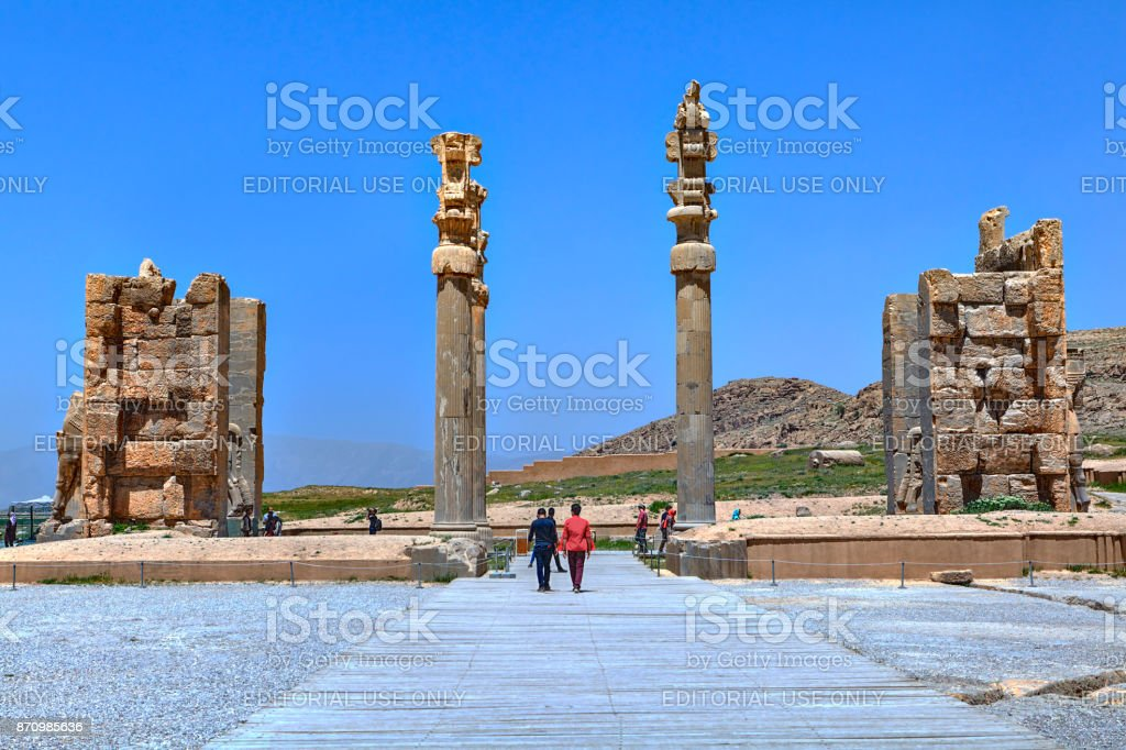 Ancient pillars in the Gate of all Lands, Shiraz, Iran. stock photo