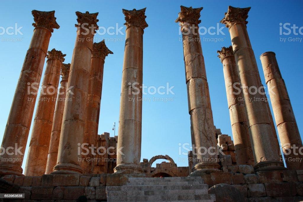 Ancient pillars of Temple of Artemis in Jerash, Jordan stock photo