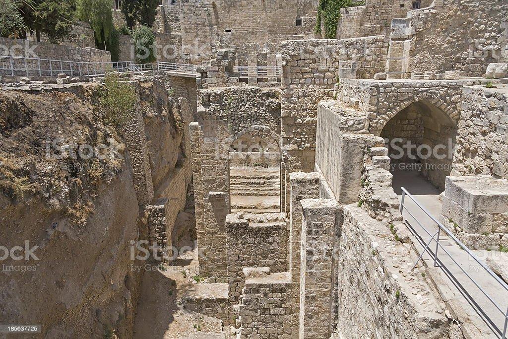Ancient Pool Of Bethesda Ruins Old City Jerusalem Israel