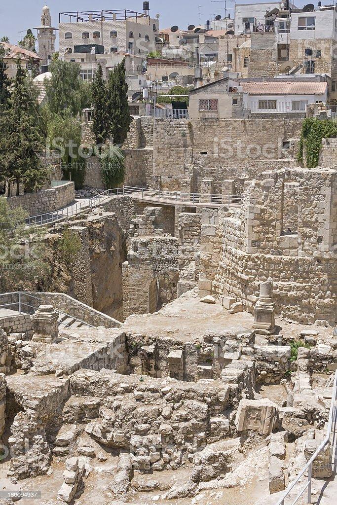Ancient Pool of Bethesda ruins. Old City, Jerusalem, Israel. royalty-free stock photo
