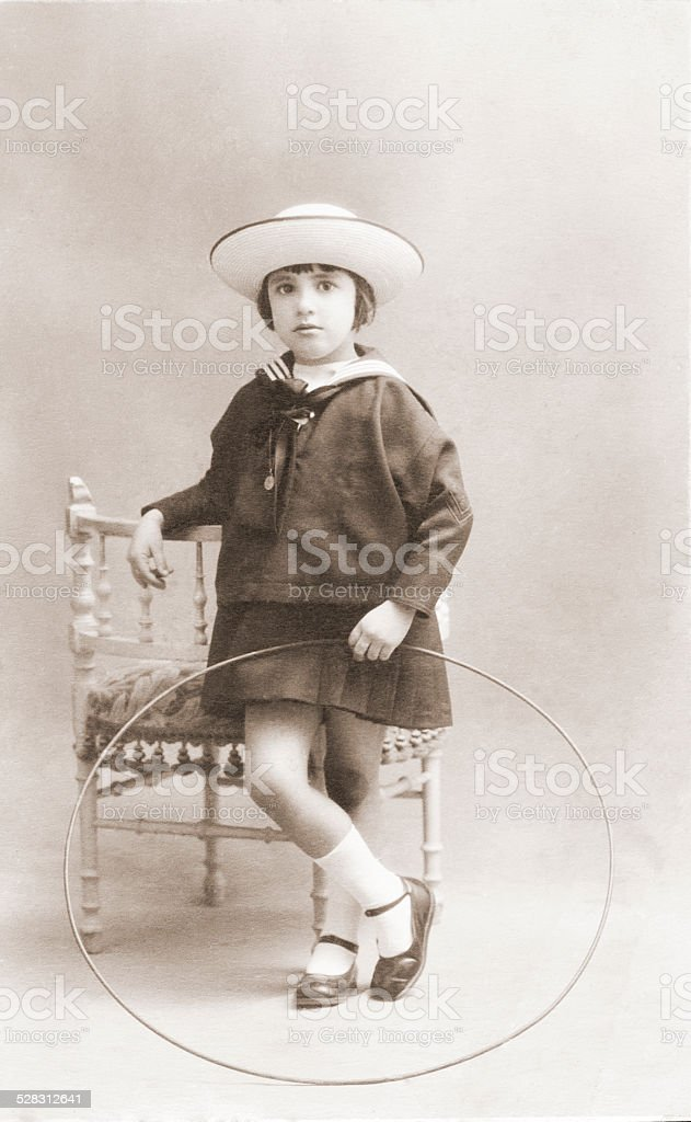 Ancient portrait of of girl in a studio. vintage stock photo