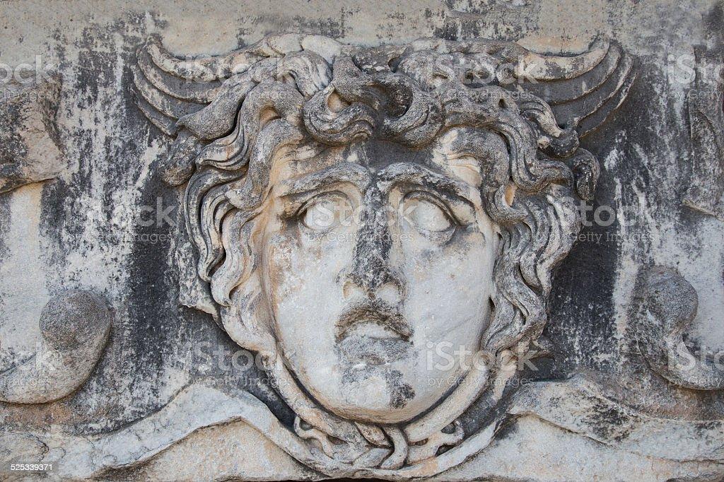 Ancient portrait stone in Apollo Temple, Didyma, Turkey, 2014 stock photo