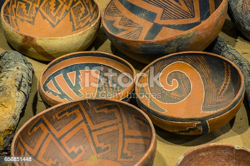 White Mountains redware. Ancient Puebloan ceramic bowls. New Mexico, American Southwest.