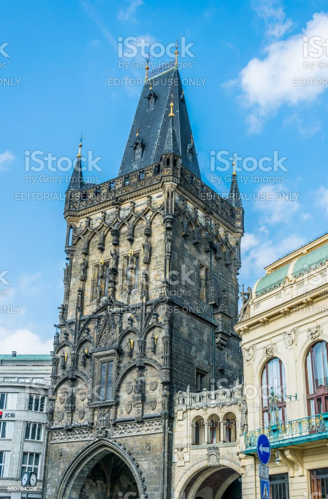 Ancient powder tower and a powder gate. Entrance to the old city quarter of Prague stock photo