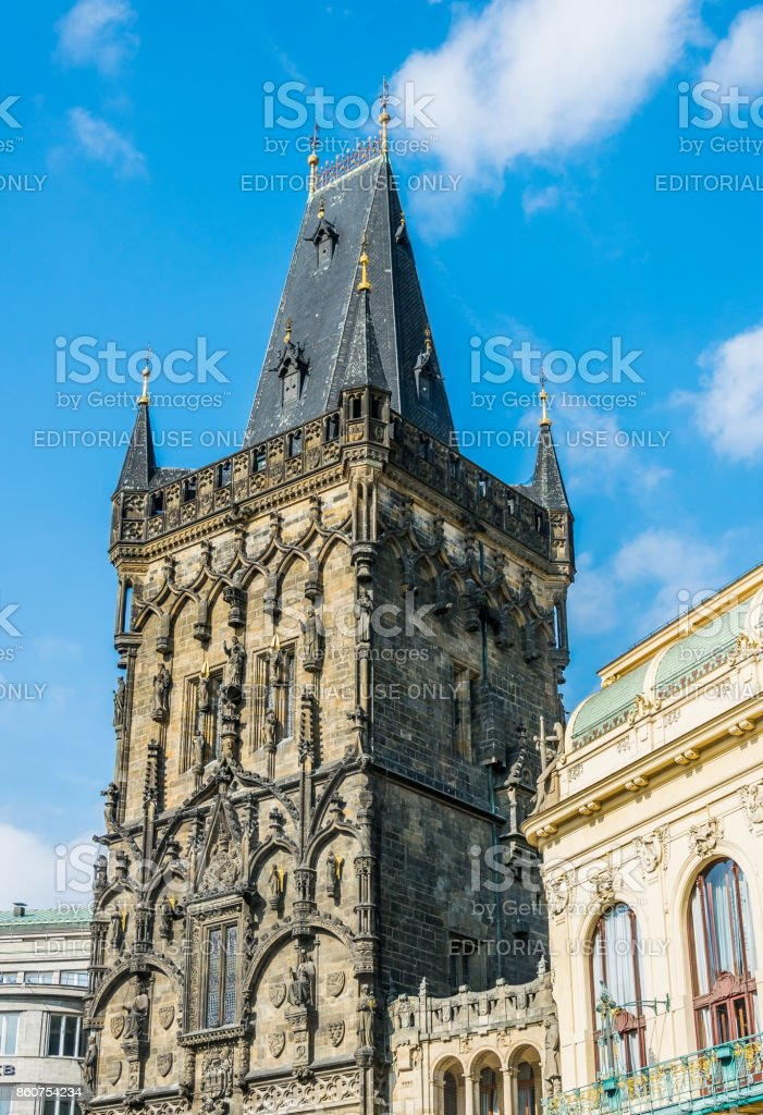 Ancient powder tower and a powder gate. Tourist attraction of Prague stock photo
