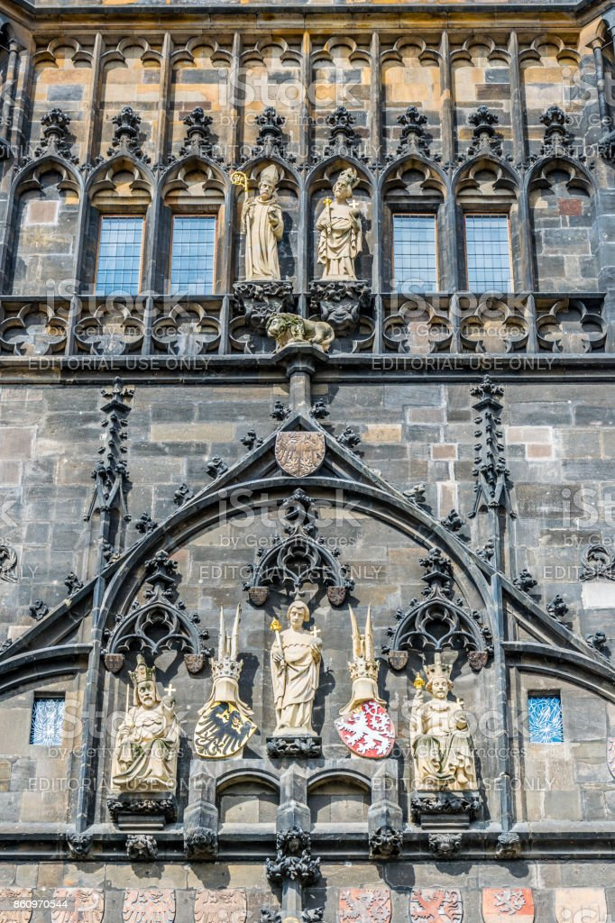 Ancient prasna brana. Entrance to the old city quarter of Prague stock photo