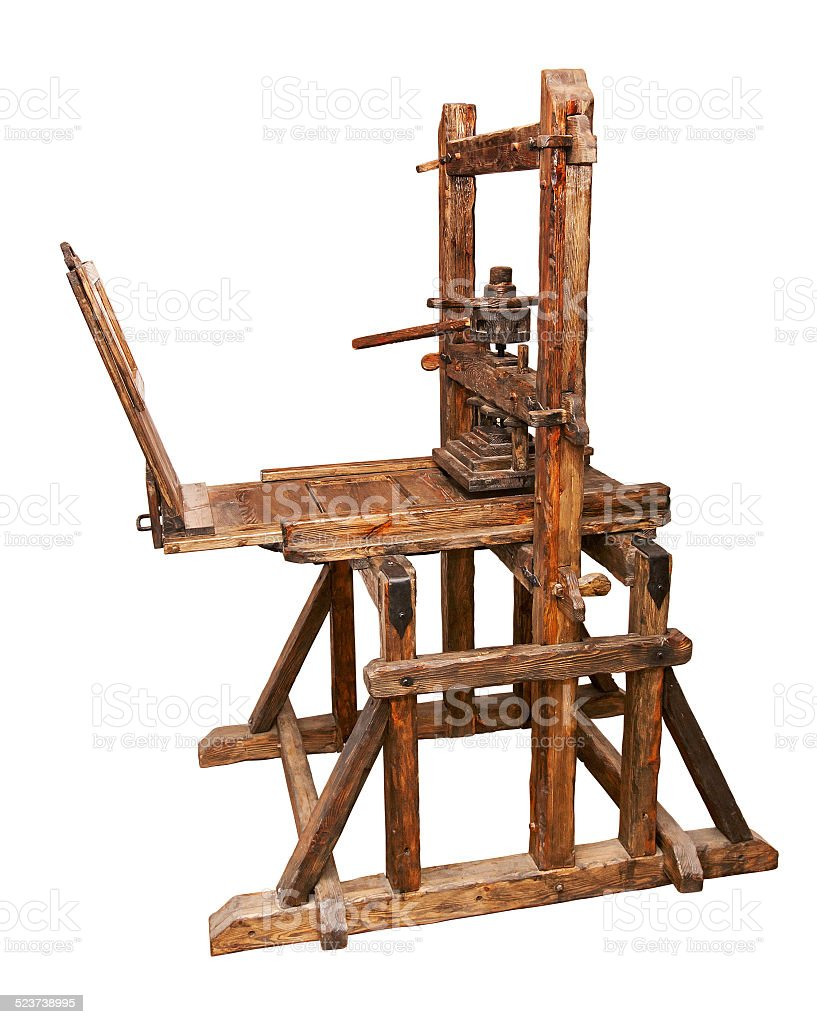 Ancient printing press stock photo