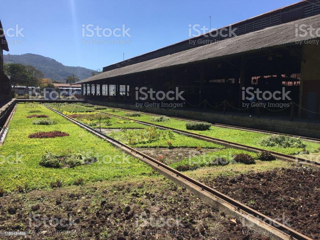 An ancient railroad station platform at Quezaltepeque, El Salvador