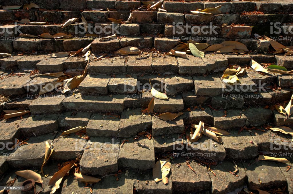 Ancient red brick wall of Lan Na Kingdom stock photo