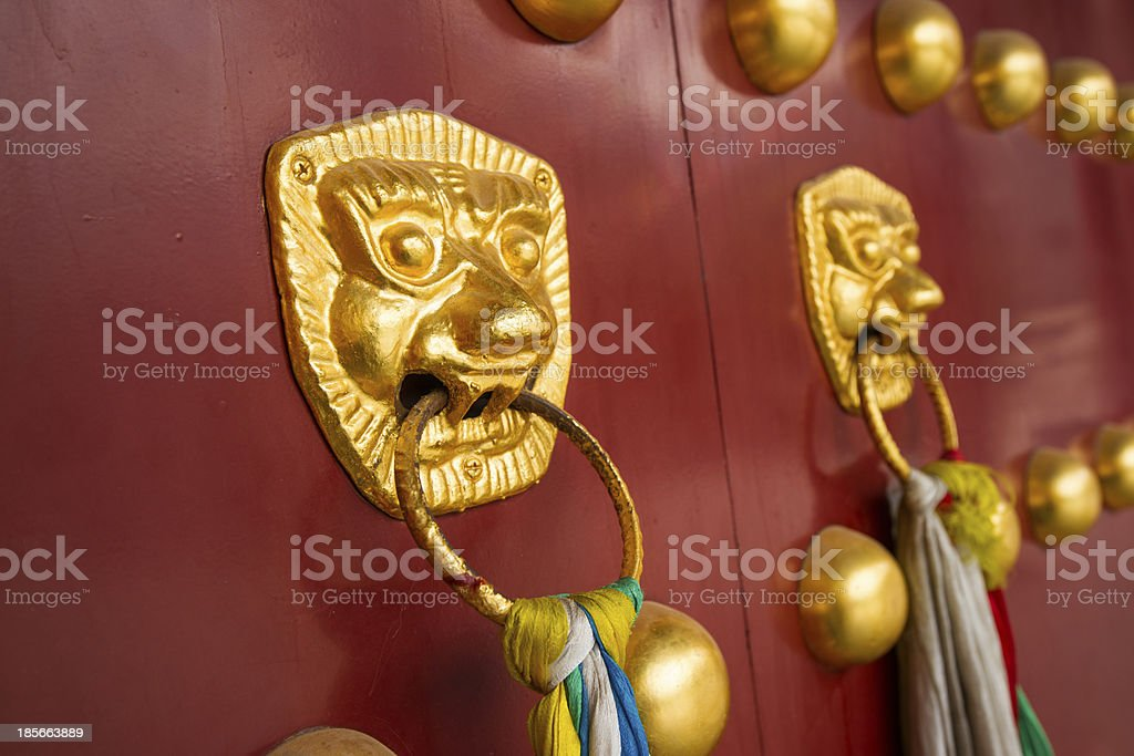 ancient red doors royalty-free stock photo