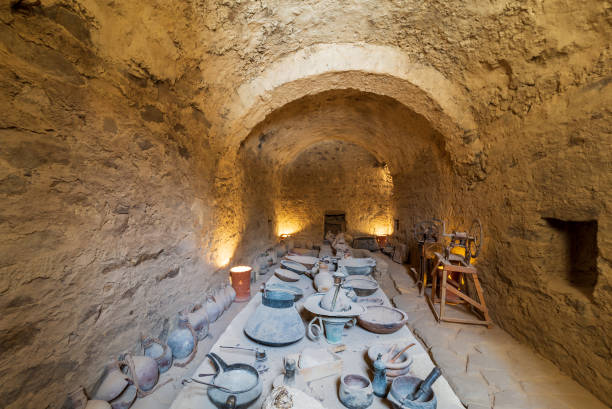 Ancient refectory at the Monastery of Saint Paul the Anchorite, Egypt stock photo