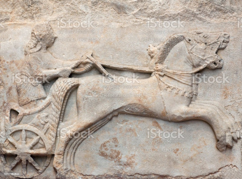 Ancient relief of a Charioteer from Cyzicus, Erdek, Turkey stock photo
