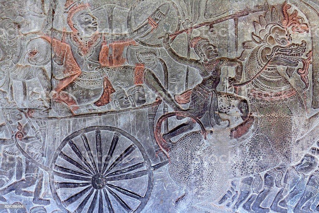 Ancient reliefs at Angkor Wat, Cambodia stock photo