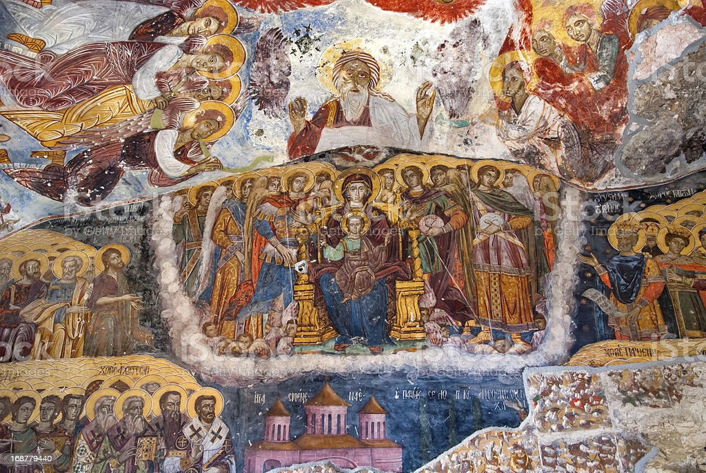 Ancient religious paintings in Christianity royalty-free stock photo