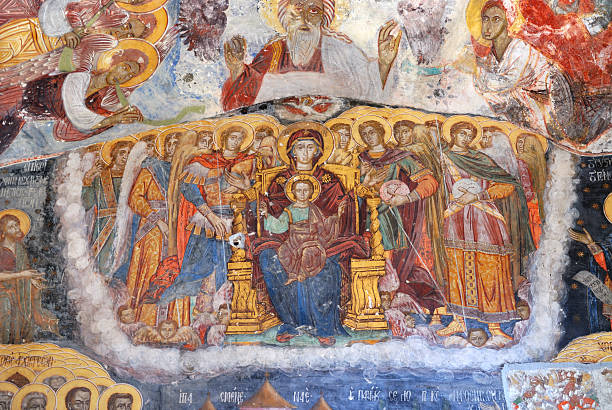 Ancient Religious Paintings in Christianity stock photo
