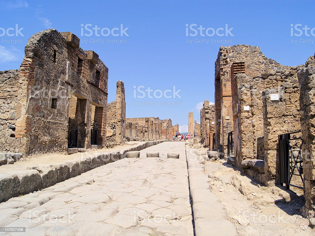 Ancient road in the ruins, Pompeii, Italy royalty-free stock photo