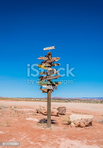Old road tourist signpost in the Moab Desert, Utah, USA. Journey through the Wild West