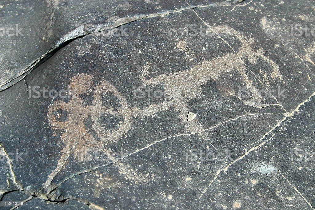 Ancient rock art in the Himalaya royalty-free stock photo