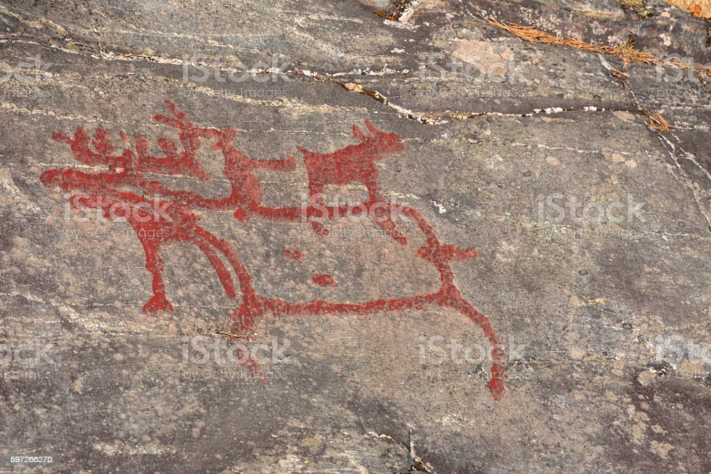Ancient rock paintings in Naesaaker ins Sweden stock photo