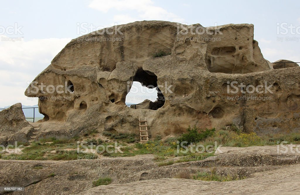 Ancient rock-hewn cave city of Uplistsikhe royalty-free stock photo