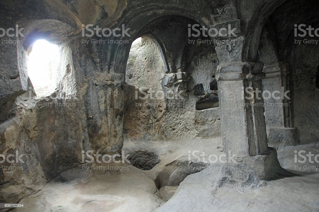 Ancient rock-hewn cave city of Uplistsikhe royalty-free stock photo