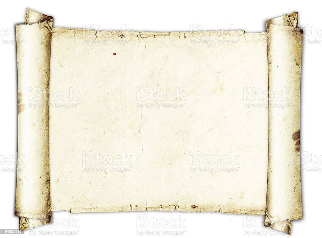 Ancient roll of parchment on a white background stock photo