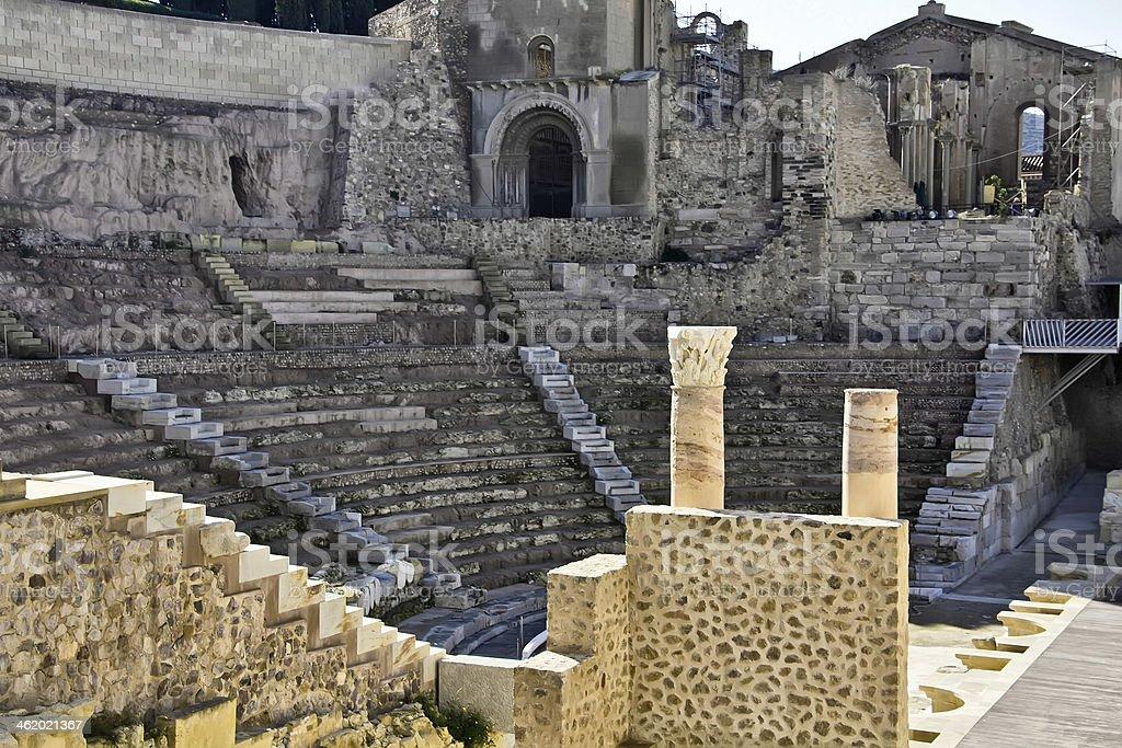 ancient Roman amphitheater in Cartagena, Spain royalty-free stock photo