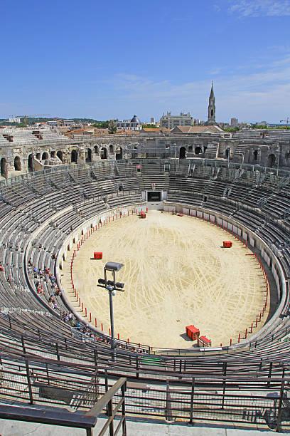 Ancient roman Amphitheater in Nimes, France stock photo