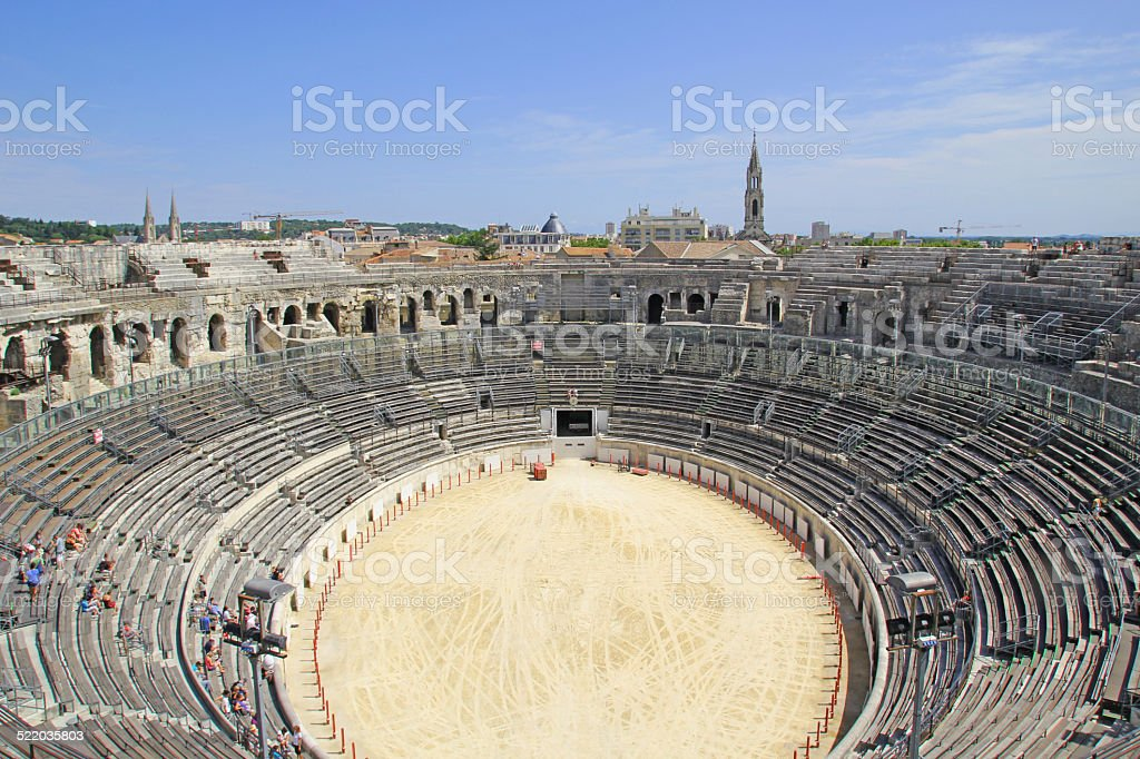 Ancient roman Amphitheater in Nimes, France stock photo