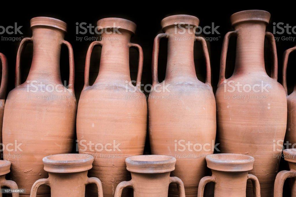 Anciennes amphores romaines conservés à tenir le navire dans le commerce de l'antiquité - Photo