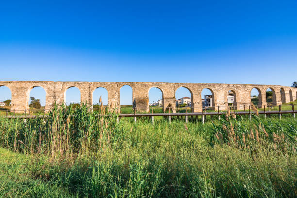 Ancient Roman aqueduct of Kamares in Larnaca, Cyprus. stock photo