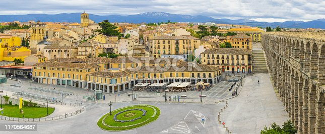 ancient Roman aqueduct on Plaza del Azoguejo square in Segovia, Castilla y Leon, Spain