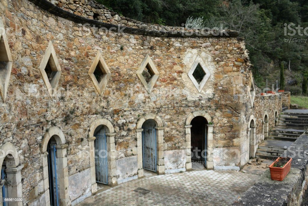 Ancient Roman baths in Corbieres, France royalty-free 스톡 사진