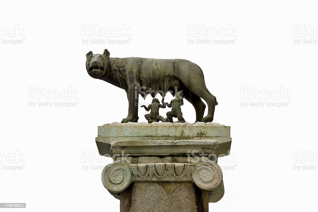 Ancient roman bronze of the she-wolf suckling Romulus and Remus, stock photo