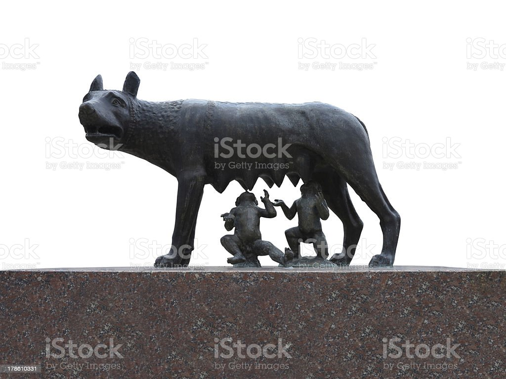 Ancient roman bronze replica of the she-wolf suckling Romulus an stock photo