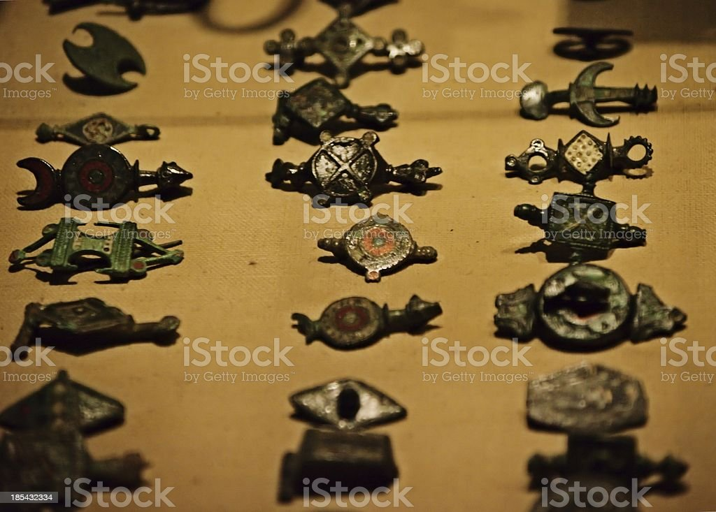 Ancient Roman brooches stock photo