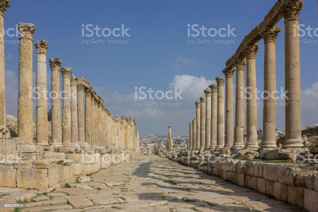 Ancient Roman city of Gerasa modern Jerash stock photo