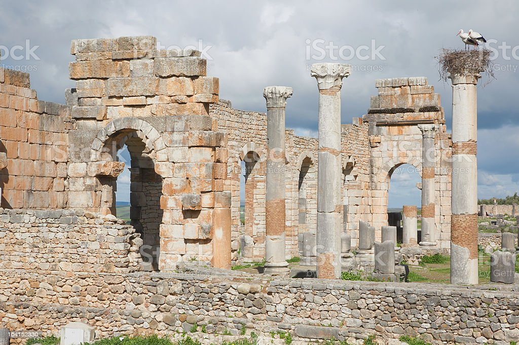 Ancient roman city of Volubilis in Morocco royalty-free stock photo
