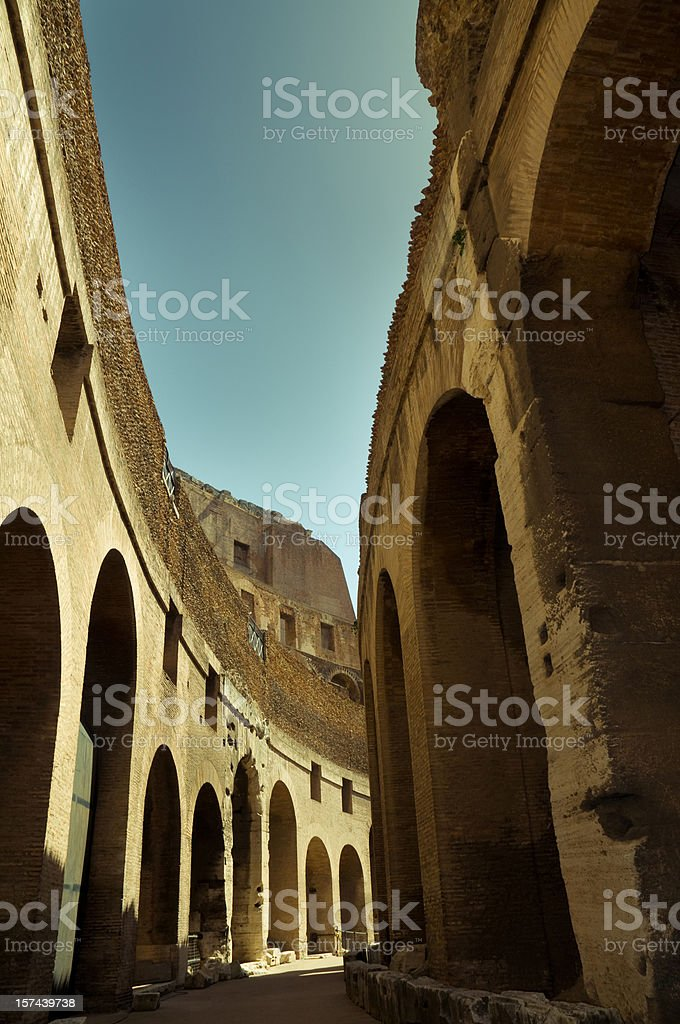 Ancient Roman Colosseum Walls stock photo