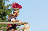 Aquileia: Ancient Roman legionary commander just before the final battle at the local annual historical reenactment